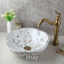 DK Ceramic Basin Bowl Vanity Vessel Sink Antique Brass Mixer Faucet Set