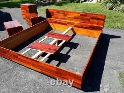 Danish modern rosewood bedroom set, chests, nightstands, platform bed