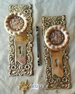 Door Knob Set (set/pair) Victorian Eastlake Stamped Brass 7 1/4 x 2 1/2