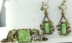Exquisite Austria Austrian Antique Enamel & Glass Bracelet Earrings Set