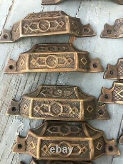 FANCY c1870 SET of 13 matching authentic VICTORIAN cabinet pull hardware 3.75