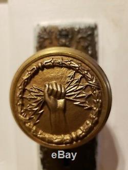 Fist Holding Lightening Bolt Electric Company Antique Solid Brass Door Knobs Set