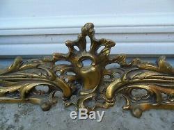 French antique ornately bronze brass fireplace set fender adjustable