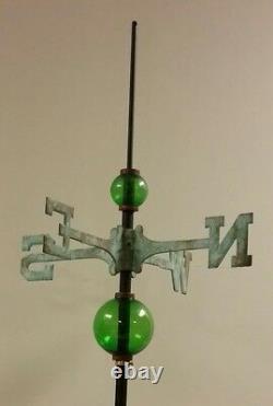 Full weathervane set-up/ 2.5'' & 4.5'' GLASS balls/ roof mount/ROD&DIRECTIONALS