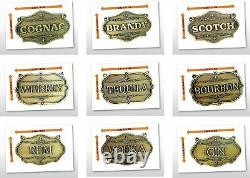 GIFT Gorgeous European Liquor Decanter Tags Labels Set 9 Antique Brass with Chain