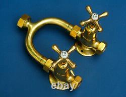Genuine Shanks horseshoe shower set solid brass wishbone antique faucet