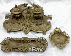 Ges Gesch Antique Brass Art Nouveau Woman Cherub Desk Set Pen Holder Dish Inkwel