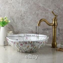 Hand Paint Ceramic Basin Bowl Vanity Vessel Sink Antique Brass Mixer Faucet Set