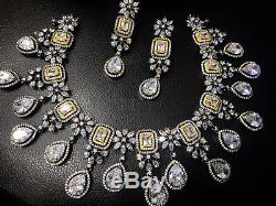 Indian Bollywood Style CZ AD Wedding Silver Fashion Jewelry Necklace Set Antique