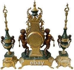 Italian Brevettato Mantle Clock & Green Marble Set with Garniture