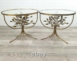 Italian Tole Floral Bouquet Side Table Set of (2) Gold Hollywood Regency Glass