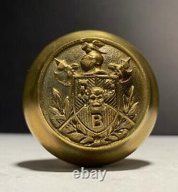 Knights Pythias Brass Door Knob set Antique Victorian 1896 Rare Emblematic
