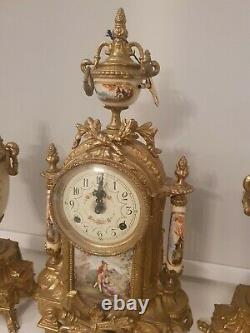 LANCINI MANTEL CLOCK & GARNITURE SET, GILT BRASS, PORCELAIN Antique Collectable