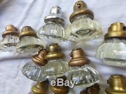 LARGE Antique Set of 12 Brass Art Deco Door Plates 12 Crystal Knobs SET 33 B