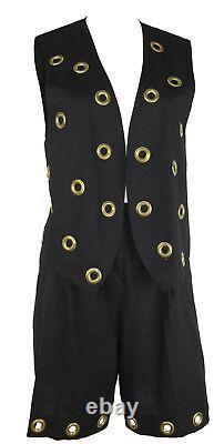 LILLIE RUBIN Retro 1980's 2 Pc Shorts & Vest Set Black with Brass Grommets, Sz 6