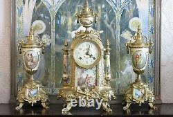 Lancini Hermle Brass & Porcelain Striking Clock & Garniture Set, Working Well