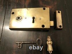 Large Brass Rim Lock & Brass Keep Set with Escutcheons & key DHD1620