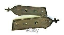 Large Cast Brass Antique Victorian Front Entry Door Knob Set + Back Plate & Lock