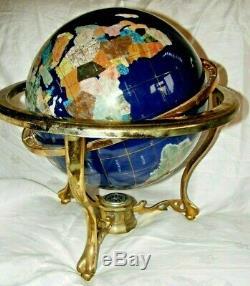 Large Gemstone Set Globe On Brass Frame With Compass, Lapis 104cms Circumference