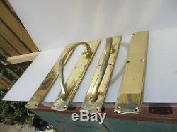 Large Vintage Brass Door Handles Set Shop Pulls Finger Push Plates 6kg Old 18