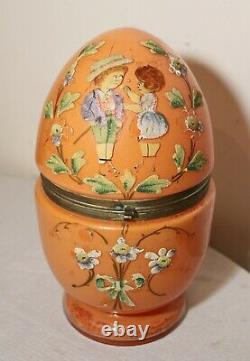 Large antique blown glass brass painted egg decanter liquor tantalus shot set