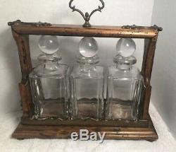 Lucille Ball Collection Antique Italian Tantalus /Decanter set Lock Wood Brass