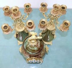 MARTI Antique Mantel Clock SET BRONZE PORCELAIN French GILDED! Candelabras 1889