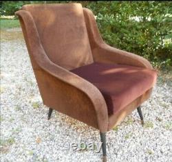 MID CENTURY set PAIR Lounge chairs # sofa by Marzo Zanuso Gio Ponti italy 1950s