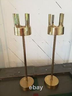 Mid Century Modern Brass Candle Holders Candlesticks Atomic VTG Pair Set