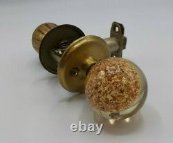Mid Century Modern Gold Flake Door Knob Set With Keys
