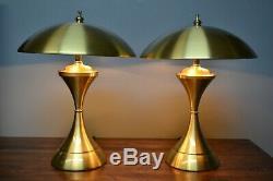 Mid Century Modern Mushroom Dome Shade Brass Table Desk Lamps set of 2