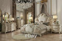 NEW Antique Pearl White Bedroom Furniture 5pcs King Upholstered Bed Set IAAL