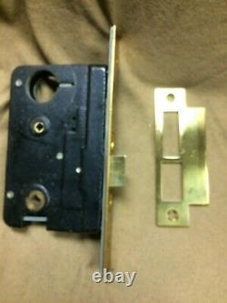 NOS Sargent antique mortise door lock set, withkeys & brass heart shaped handles
