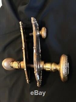 NYC Vintage Brass The Plaza Hotel Door Knob Set, Oval Handles, Bolted Knob
