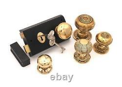 Old Victorian Style Black Door Rim Lock + Antique Solid Brass Door Knob Set (N)