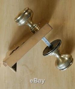 Original Victorian Brass Rim Lock & Door Knobs Set Restored Vintage Antique