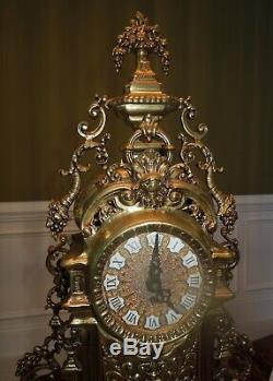 Ornate Antique Victorian Mantle Brass & Marble Clock & Candelabra Set Germany