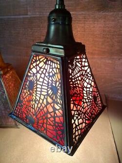 Pink Slag Glass and Brass Art Nouveau Hanging Lamps Set of Three