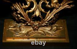 Pr Candelabra, girandole set, Hooper, Boston, c1858, heavy brass, 16t, Rococo
