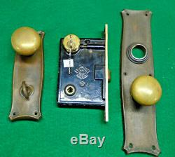 RUSSWIN 01248 ENTRY MORTISE LOCK SET COMPLETE withCYLINDER & KEYS NICE (13796)
