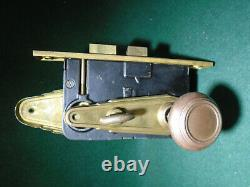 RUSSWIN 11248 ART DECO ENTRY LOCK SET with KNOBS, PLATES & KEYS (12150)