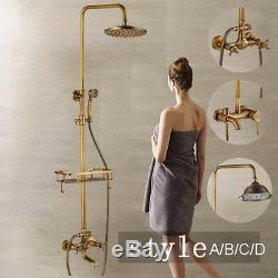 Rain Antique Brass Bathroom Shower Head Taps Hand Spray Mixer Faucet WithShelf Set
