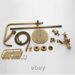 Rainfall Shower Faucet Set Stacks Handheld Mixer Tap Bath Antique Brass Bathtub