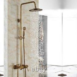 Rainfall Shower Head Shower Faucet With Hand Shower Set Mixer Tap Antique Brass