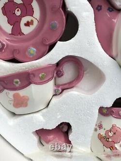 Rare Care Bears Tea Set Brass Key Keepsakes 12 Pc Set with Cups, Saucers, Pink