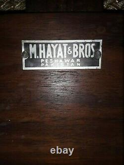 Rare Mid Century Stacking Foot Stools M. Hayat Bros. Rosewood/Brass Set Of 3