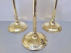 Rare Set Of 3 Mid 18th C. English Georgian 12 Tavern Brass Candlesticks C1750