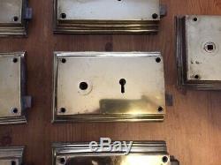 Rare Set Of Georgian Brass Door Rim Locks By Gibbons Antique