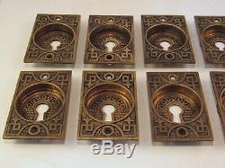 Rare Set of 10 Refurbished Antique Brass Pocket Door Pulls c. 1900
