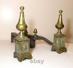 Rare pair of antique ornate brass and cast iron Federal fireplace andirons set